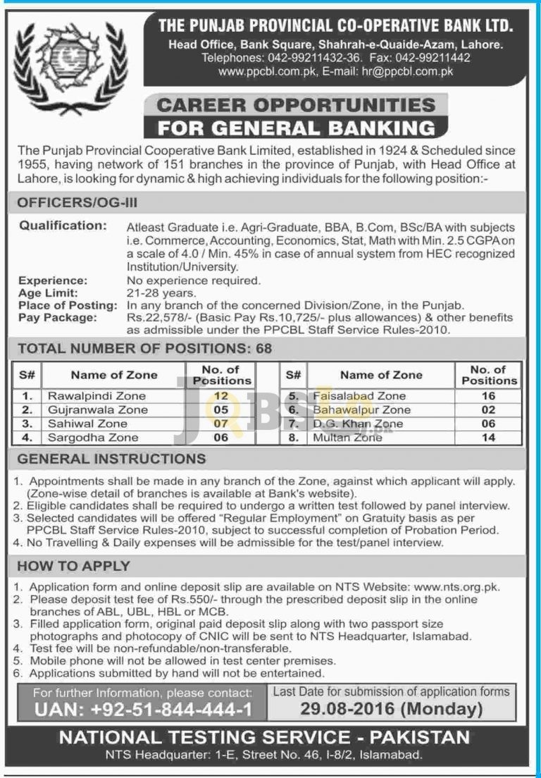 PPCBL Jobs August 2016 Punjab Provincial Cooperative Bank NTS Test & Online Roll Number Slip