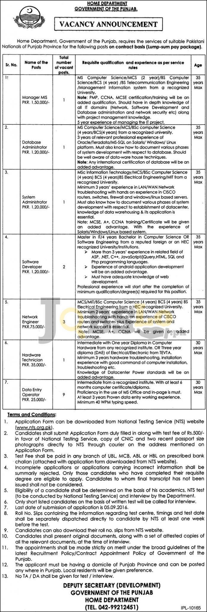 Home Department NTS Jobs August 2016 Govt of Punjab Online Form Download
