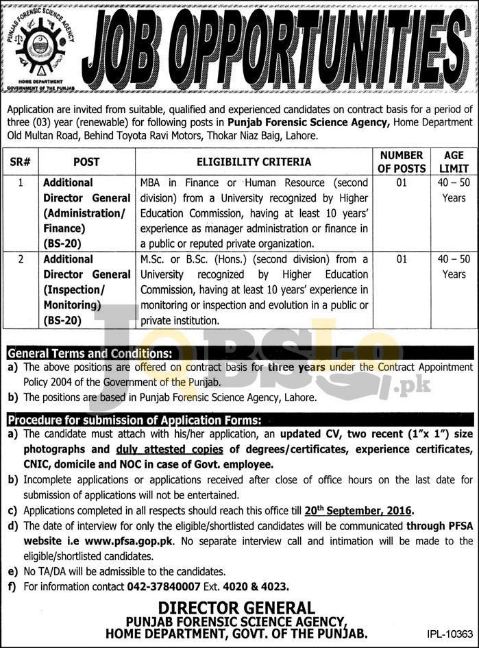 Punjab Forensic Science Agency Jobs 2016 Online Application Form www.psfa.gop.pk