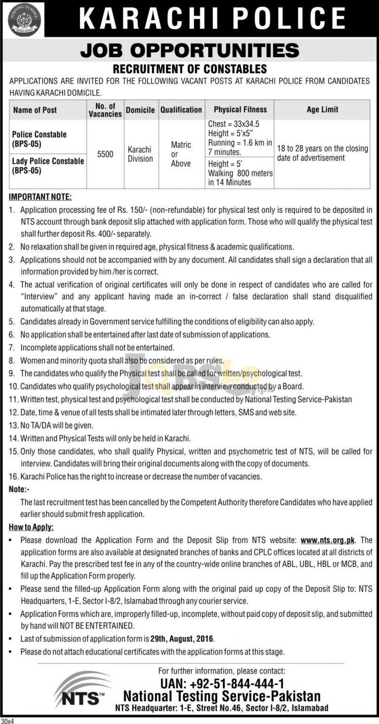 5500 Constable Jobs in Karachi Police NTS 2016 Sindh Download Roll No Slip