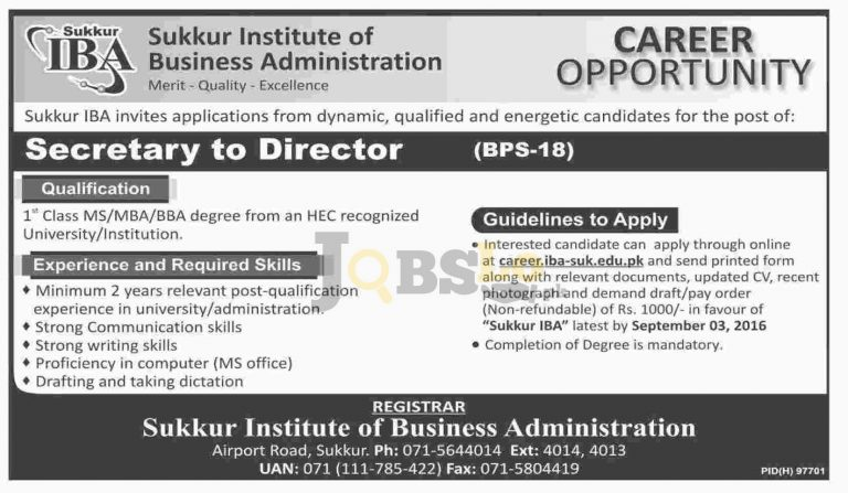 IBA Sukkur Jobs 2016 Institute of Business Administration Career Opportunities