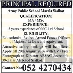 Army Public School Marala Sialkot Jobs 2016 For Principal Latest
