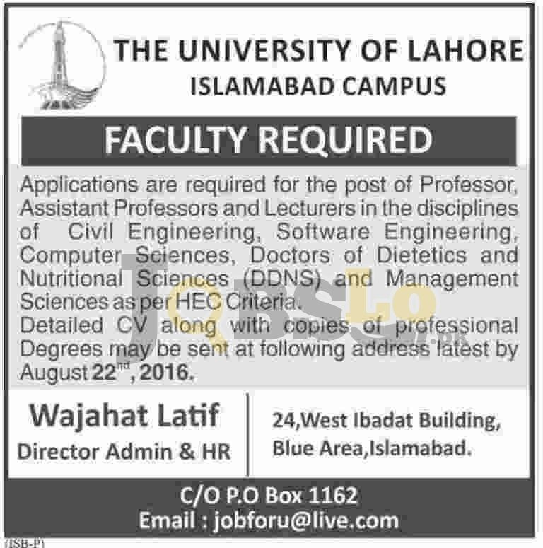 University of Lahore Islamabad Campus Jobs August 2016 Advertisement Latest