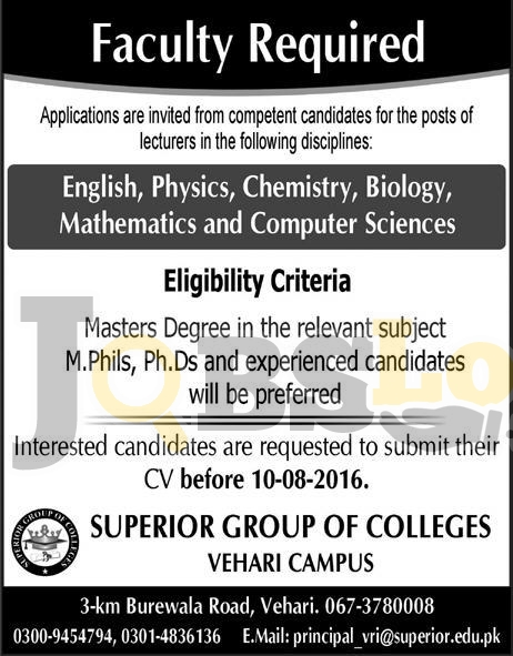 Superior Group of Colleges Vehari Campus Jobs