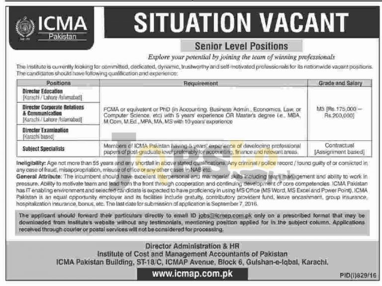 ICMA Pakistan Jobs August 2016 Institute of Cost Management Accountant of Pakistan