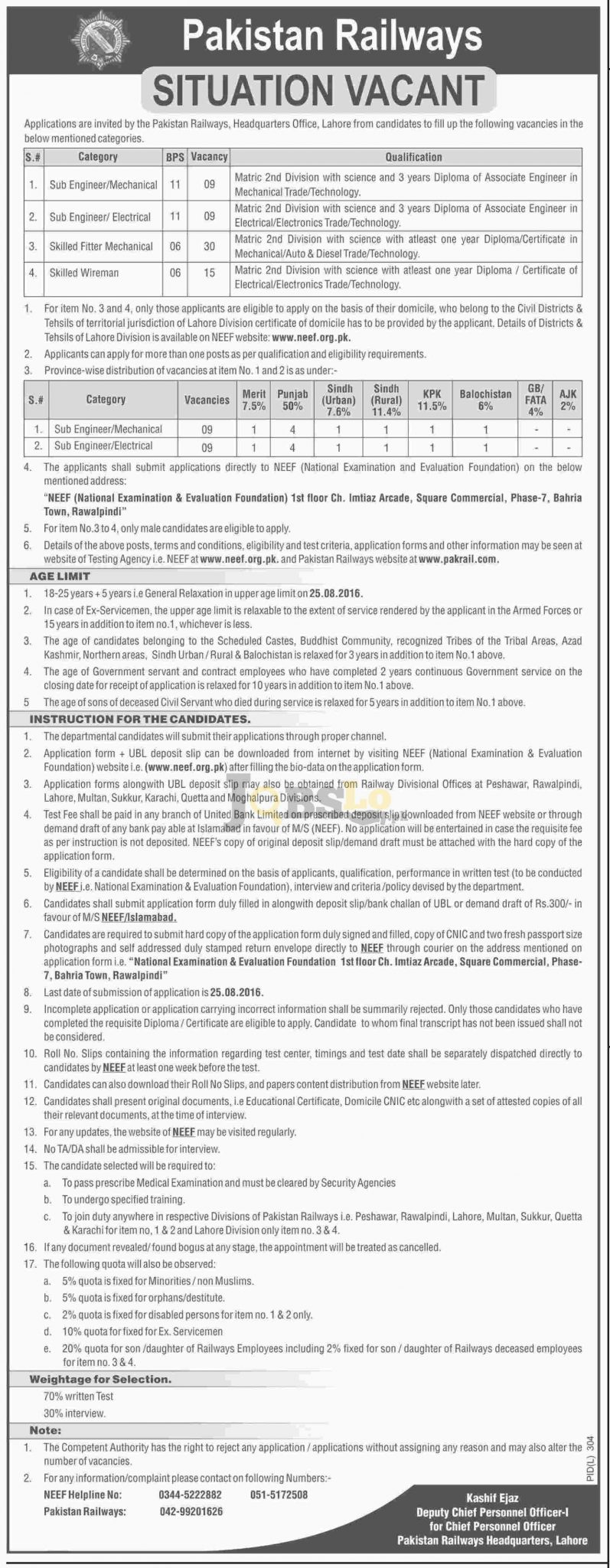 Pakistan Railways Jobs August 2016 NEEF Form Download Test Roll Number Slips