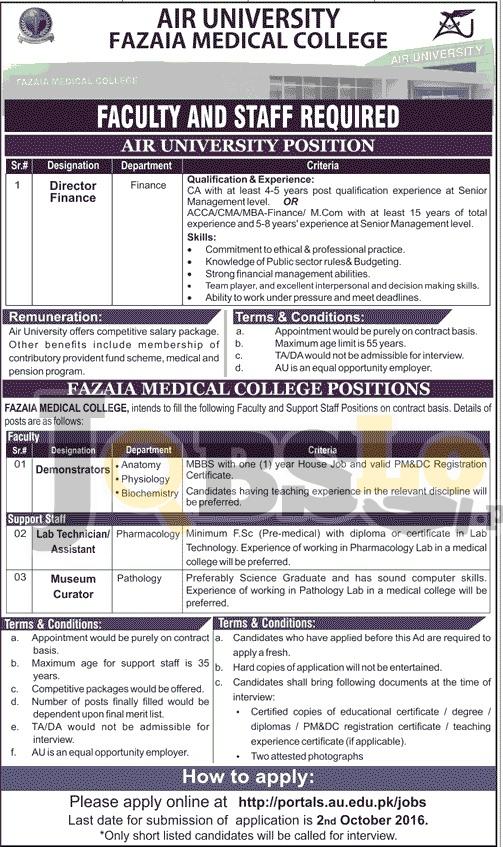 Air University Fazaia Medical College Jobs 2016 September Advertisement au.edu.pk