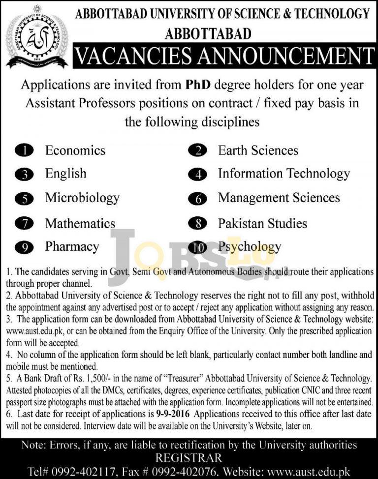 Abbottabad University of Science & Technology AUST Jobs 2016 Advertisement Latest