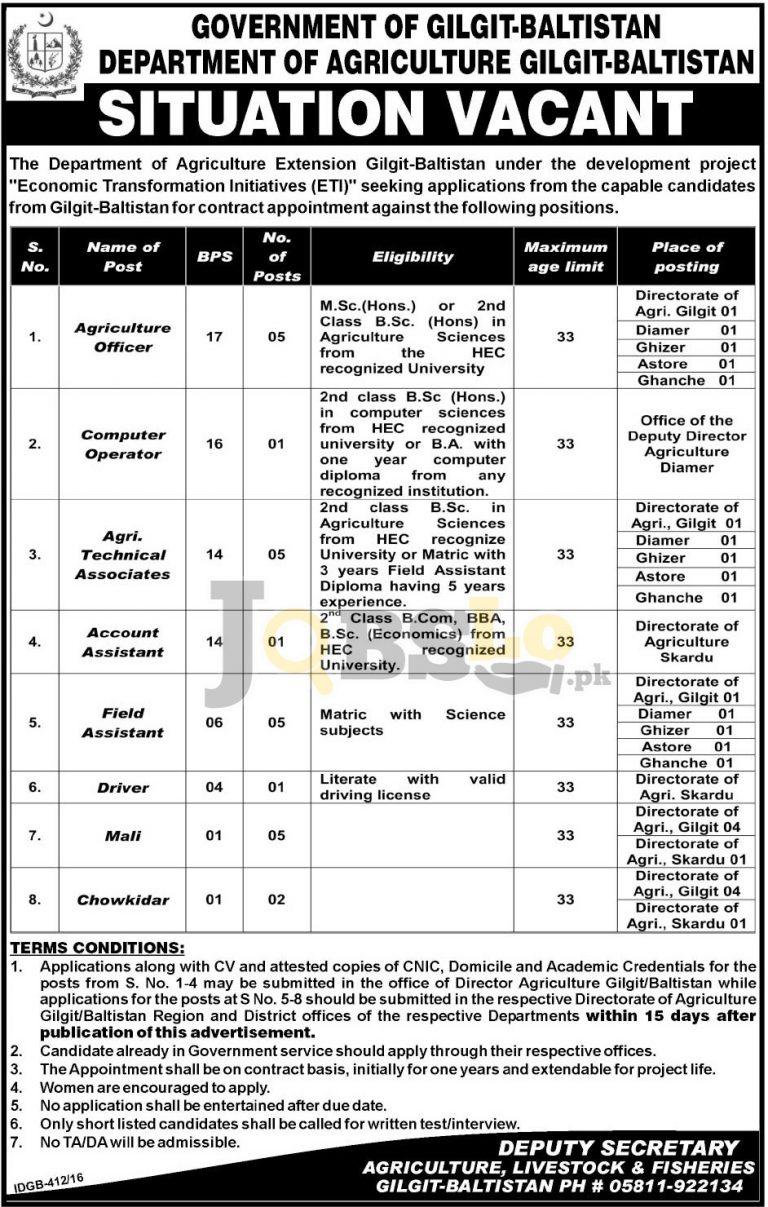 Agriculture Department Gilgit Baltistan Jobs Sep/Oct 2016 Employment Opportunities