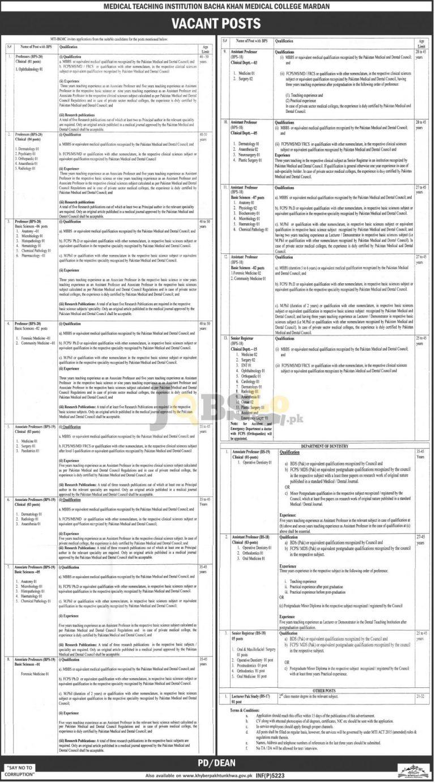 Bacha Khan Medical College Mardan Jobs 2016 For Professor Associate Professor Latest