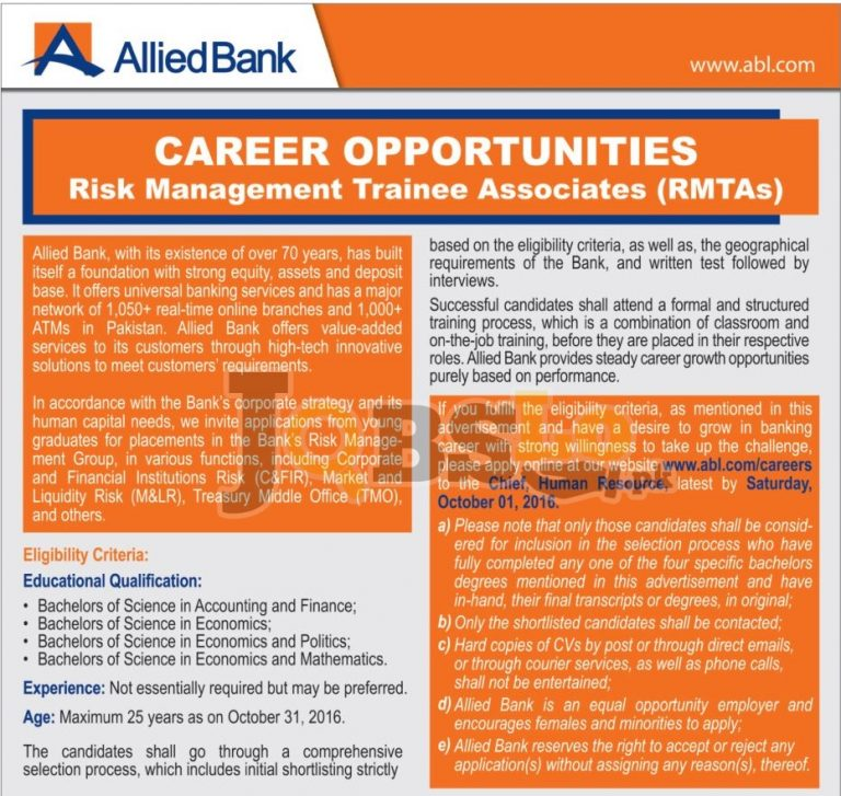 Risk Management Trainee Associates Jobs 2016 Allied Bank Limited abl.com.pk