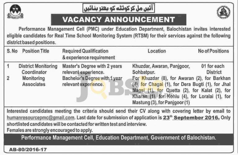 Balochistan Performance Management Cell Jobs 2016 Education Department Current Vacancies