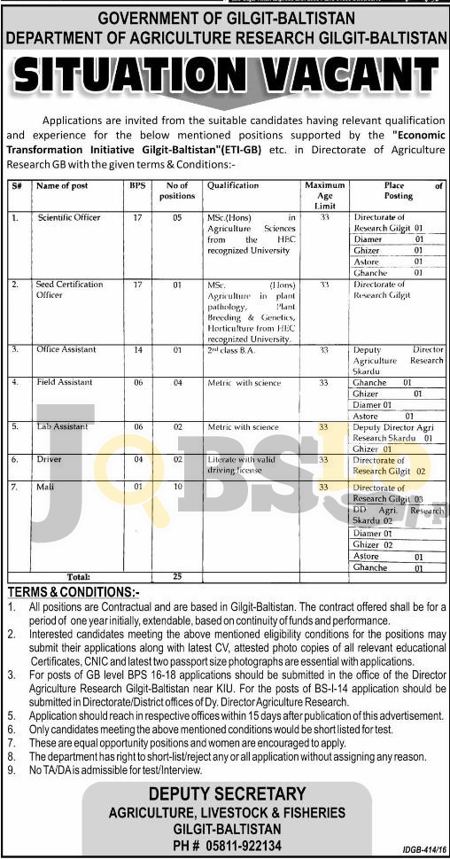 Agriculture Research Depratment Jobs