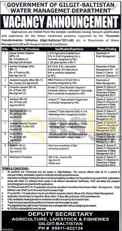 Water Management Department Jobs 2016 Gilgit Baltistan For Sub Engineer