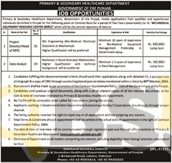 Healthcare Department Jobs 2016 Govt of Punjab For Data Analyst Eligibility Criteria