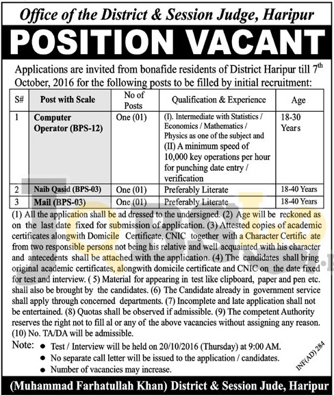 District & Session Court Haripur Jobs 2016 Latest Employment Offers