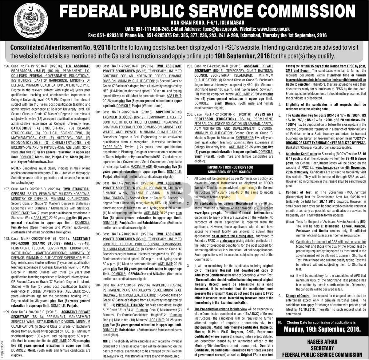 FPSC Jobs Sep 2016 Federal Public Service Commission Apply Online Latest Add