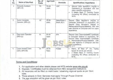 PCST Islamabad Jobs 2016 Ministry of Science and Technology NTS Form Download