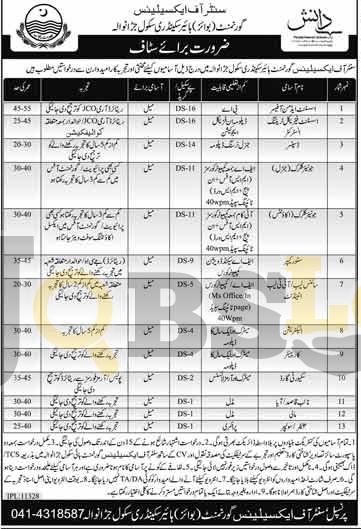 Govt Boys Higher Secondary School Jaranwala Jobs Sep/Oct  2016 Staff Required