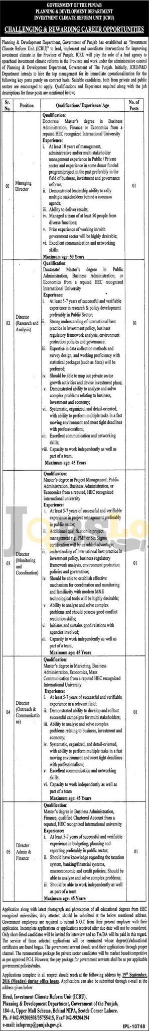 P& D Department Jobs