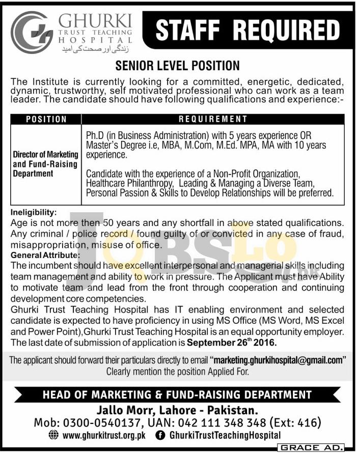Ghurki Trust Teaching Hospital Lahore Jobs 2016 For Director Marketing Eligibility Criteria
