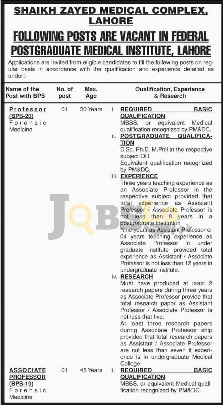 Shaikh Zayed Medical Complex Lahore Jobs