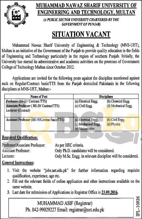 Muhammad Nawaz Sharif UET Multan Jobs 2016 For Professor Associate Professor Latest