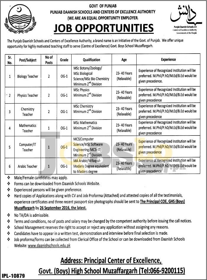 Daanish School Muzaffargarh Jobs
