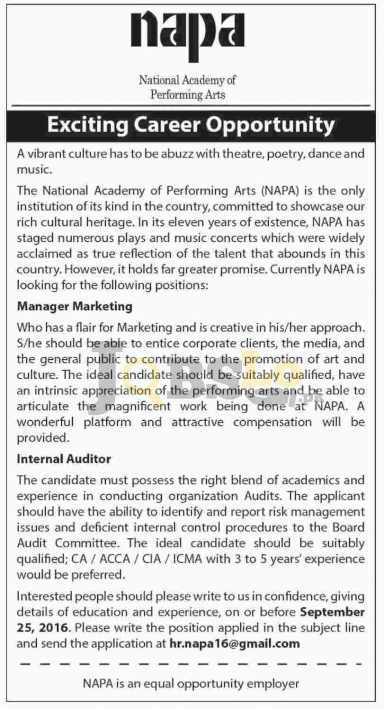 National Academy of Performing Arts Jobs 2016 Apply Online Latest Add