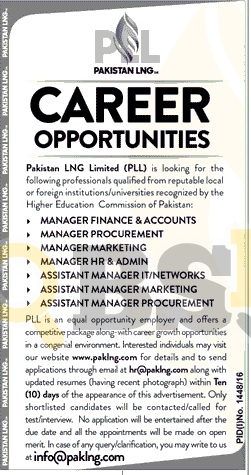 Pakistan LNG Limited Jobs Sep 2016 Manager Marketing Manager HR & Admin Latest