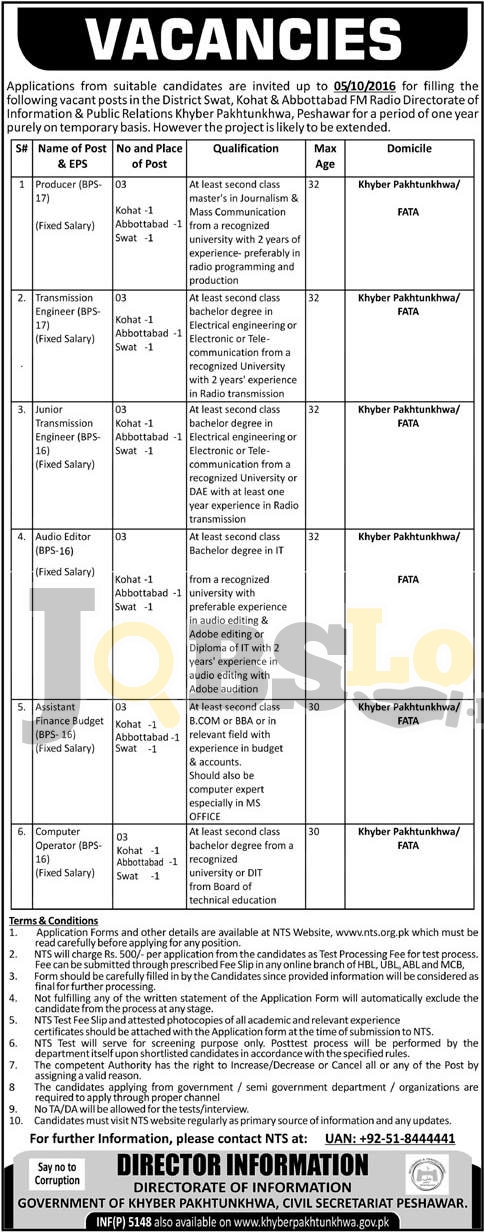 Directorate of Information & Public Relations KPK Jobs 2016 NTS Form Download nts.org.pk
