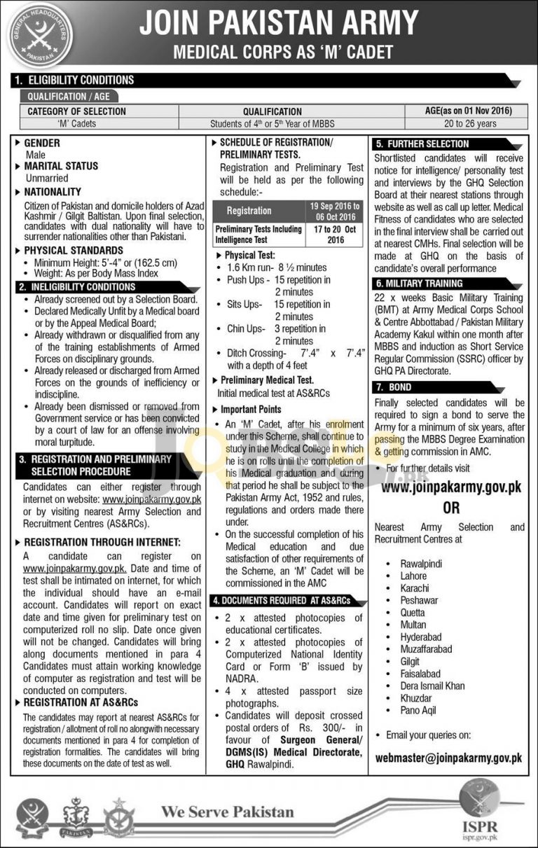 Join Pak Army Medical Corps as M Cadet 2016 Online Registration joinpakarmy.gov.pk