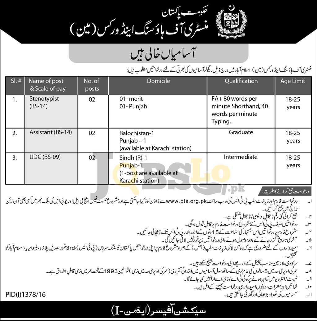 Ministry of Housing & Works Jobs
