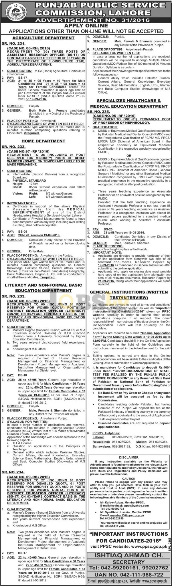 PPSC Assistant Research Officer Jobs 2016 Agriculture Department Apply Online