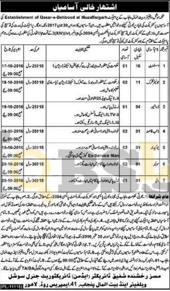Social Welfare & Bait-ul-Maal Department Jobs Sep 2016 Govt of Punjab