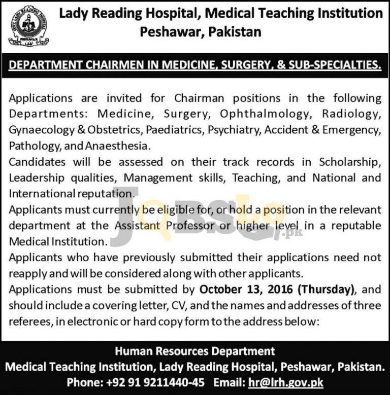 LRH Lady Reading Hospital Jobs 2016 For Chairman Eligibility Criteria