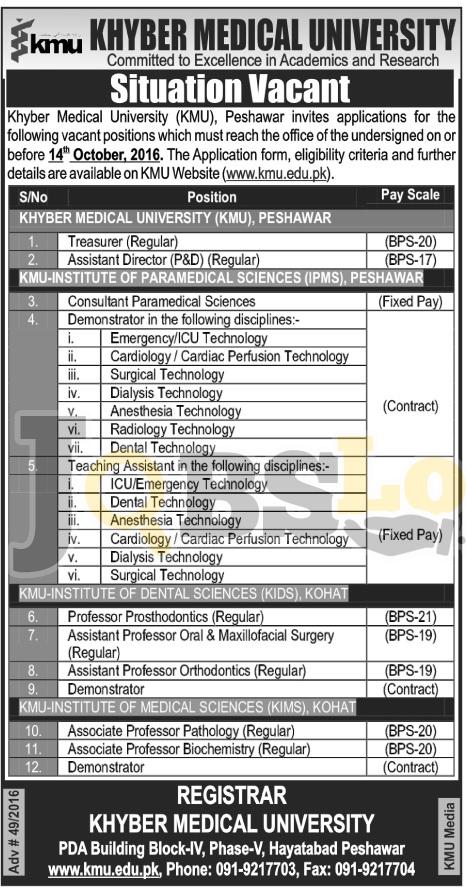 Khyber Medical University Jobs 2016 Peshawar & Kohat Online Application Form kmu.edu.pk