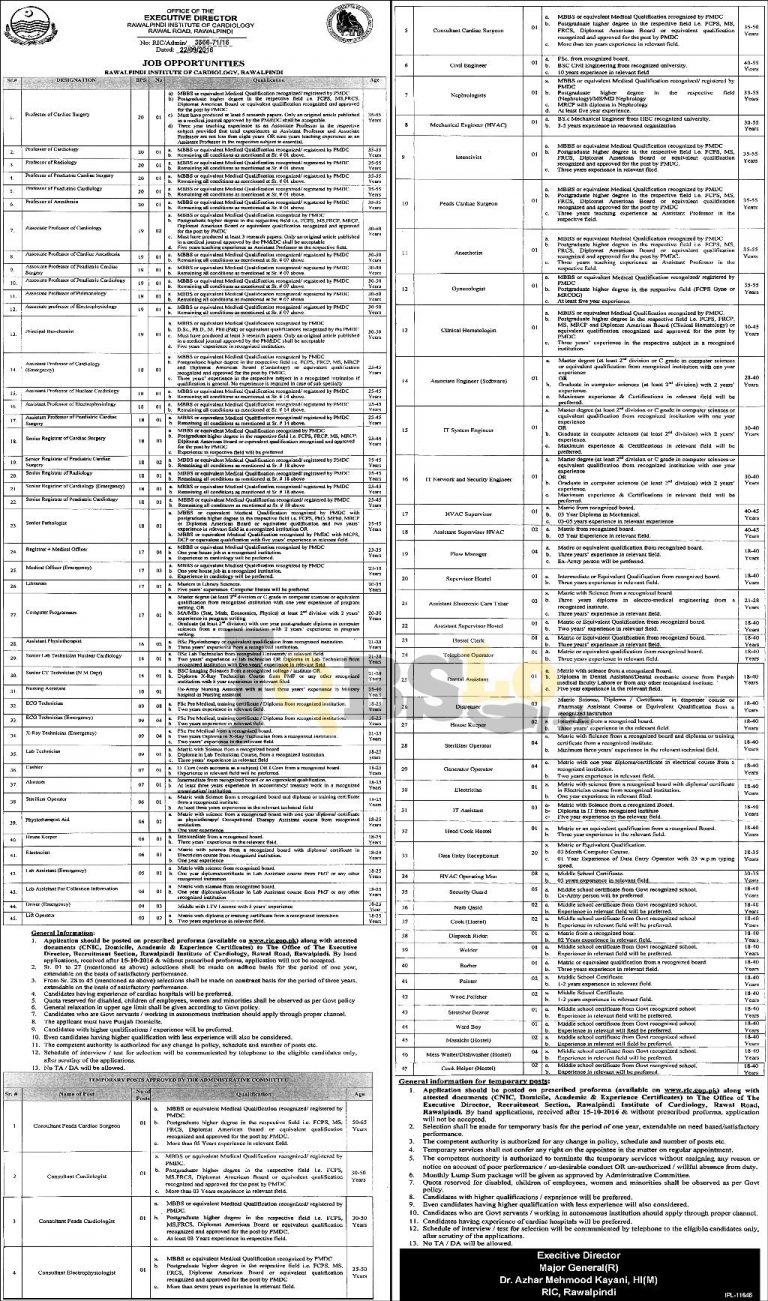 Rawalpindi Institute of Cardiology Jobs Sep/Oct 2016 Online Application Form ric.gop.pk