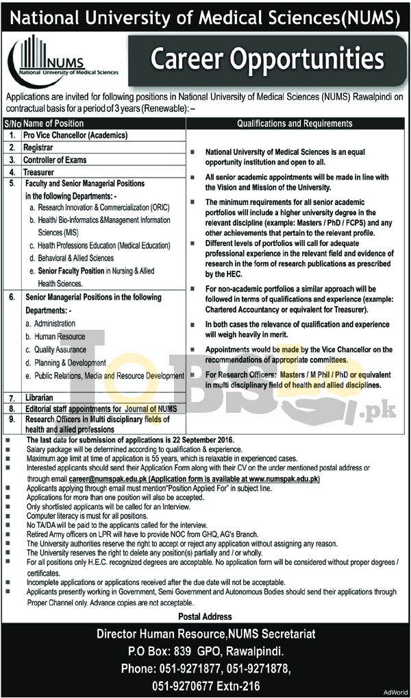 National University of Medical Science Rawalpindi Jobs 2016 Current Vacancies