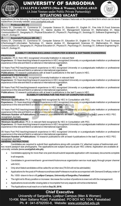 University of Sargodha Lyallpur Campus Faisalabad Jobs 2016 Faculty Required