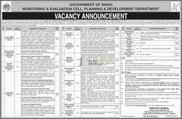 Monitoring and Evaluation Cell Planning & Development Dptt Sindh Jobs 2016 PTS Form pts.org.pk