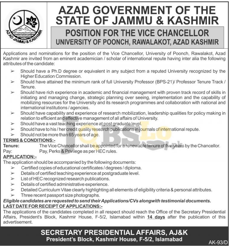 Vice Chancellor Jobs 2016 University of Poonch Rawalakot Career Offers