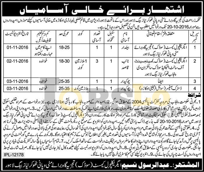 Agriculture Department Punjab Jobs 2016 For BPS-01 to BPS-03 Latest