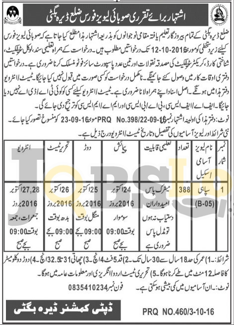 Constable Jobs 2016 in Provincial Levies Force Dera Bugti Latest Add