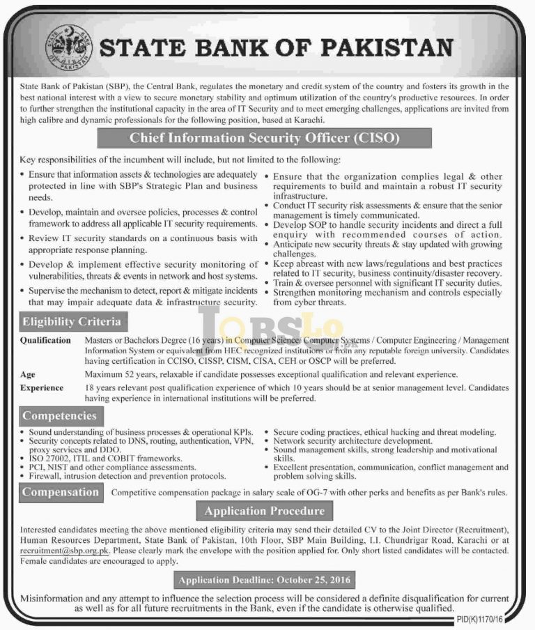 SBP State Bank of Pakistan Jobs Oct 2016 For CISO Eligibility Criteria