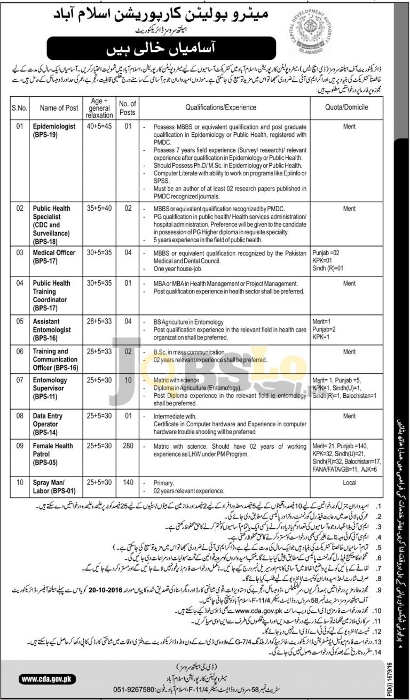 Metropolitan Corporation Islamabad Jobs Oct 2016 Download Application Form Online Add