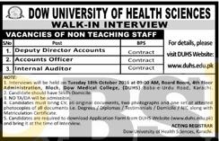 Dow University of Health Sciences DUHS Karachi Jobs 2016 Walk In Interview Schedule