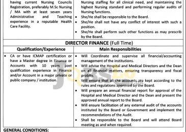 Gomal Medical College DI Khan Jobs 2016 For Nursing Director Eligibility Criteria