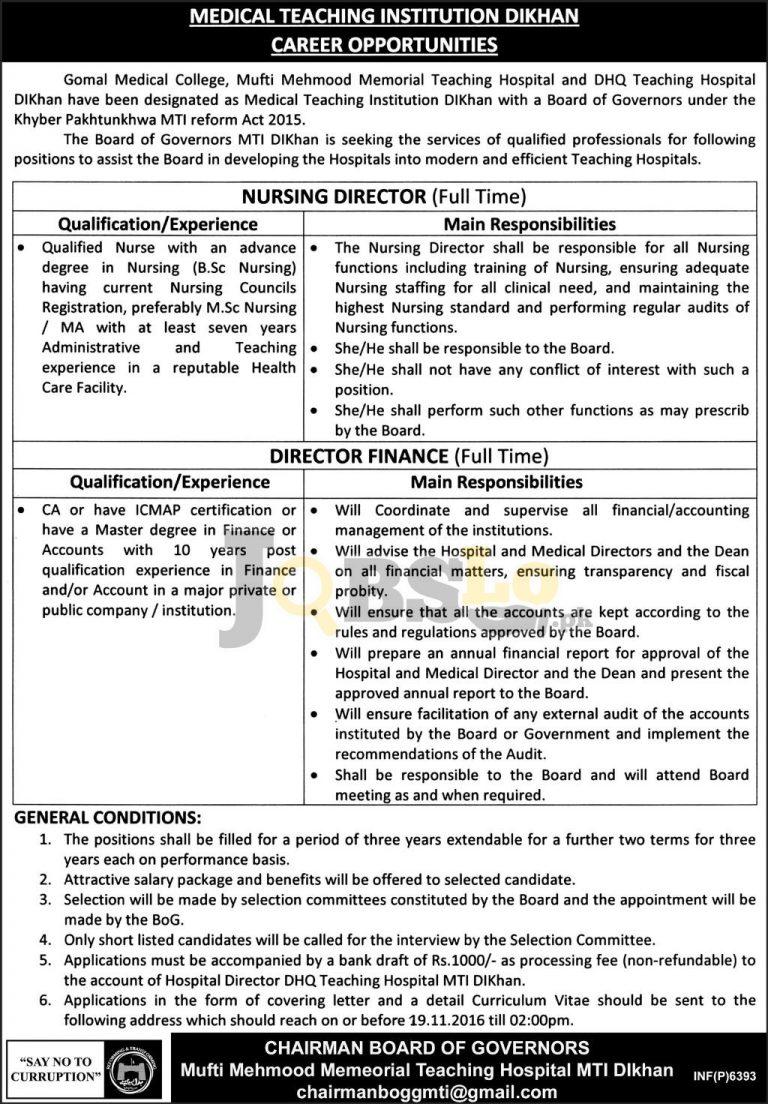 Gomal Medical College DI Khan Jobs 2016 For Nursing Director Eligibility Criteria