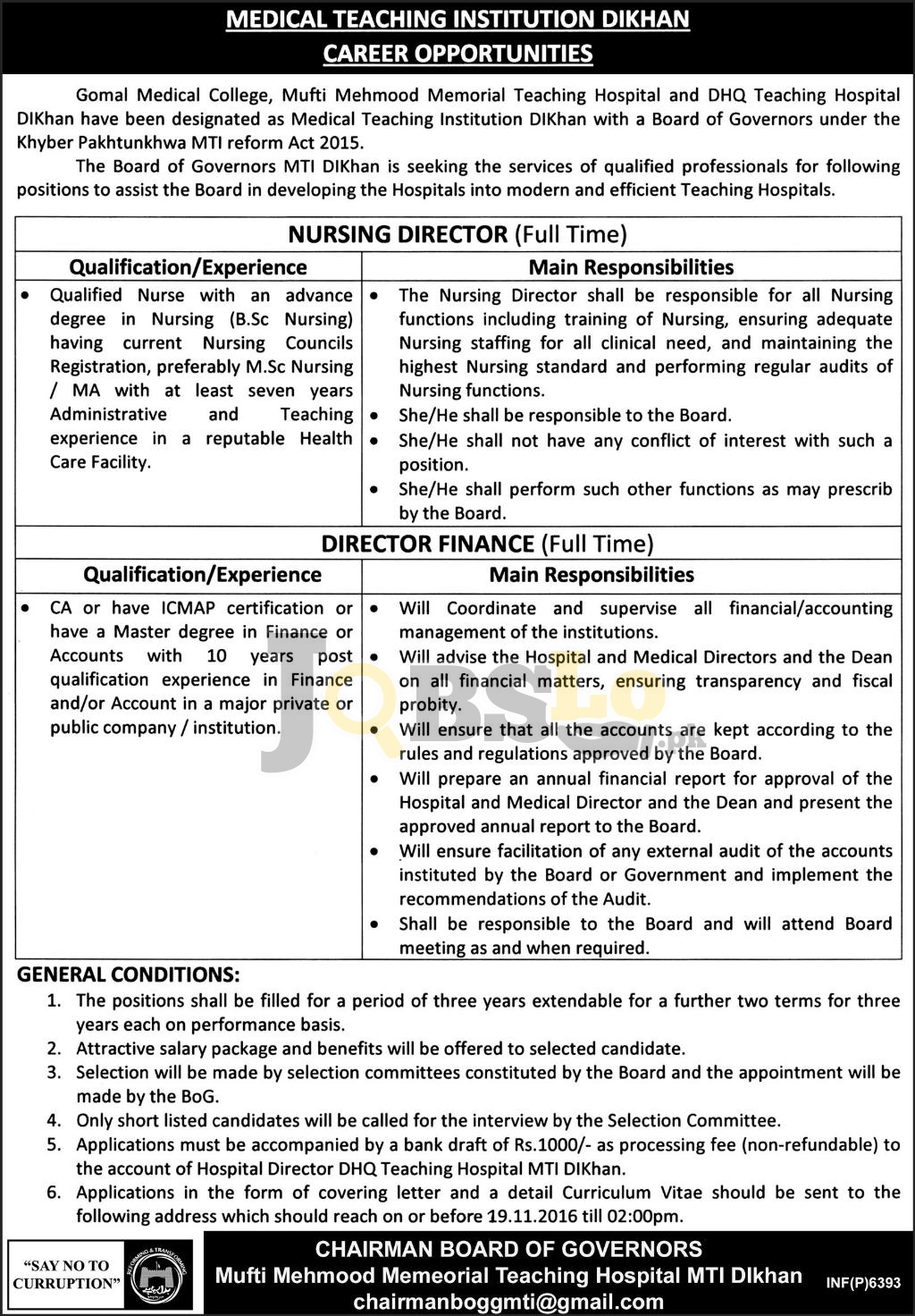 Gomal Medical College DI Khan Jobs